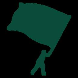 Huge flag bearer wave silhouette