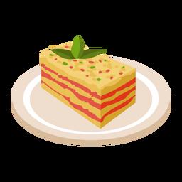 Ilustración de comida italiana lasaña