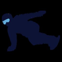 Silhueta masculina de snowboard