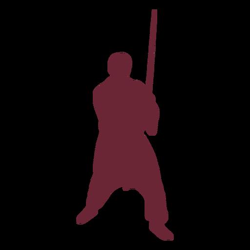 Silueta de luchador medieval