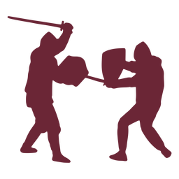 Medieval soldiers fighting silhouette