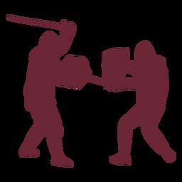 Soldados medievales luchando silueta