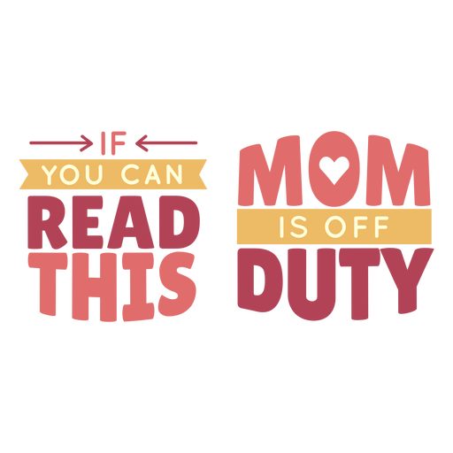 Mom off duty lettering