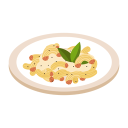 Pasta macaroni dish illustration