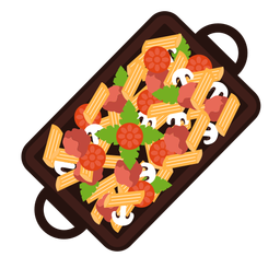 Penne pasta meal illustration