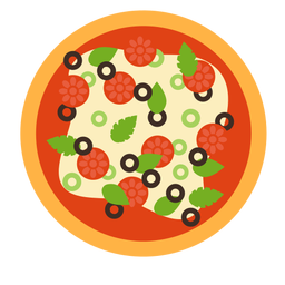 Pizza pepperoni olive italian flat
