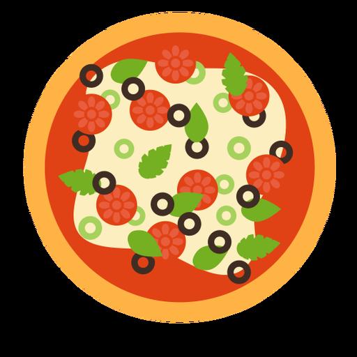 Pizza pepperoni oliva italiano plano