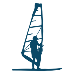Silueta de windsurf de vela