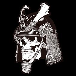 Cráneo samurai cráneo dibujado a mano