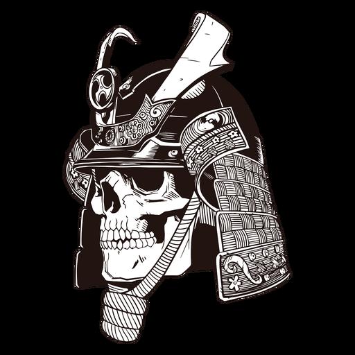 Crânio de samurai desenhado à mão no crânio