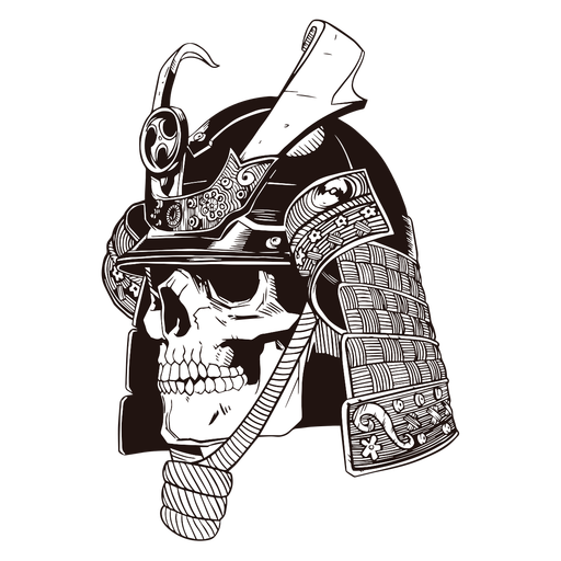 Skull samurai hand drawn skull Transparent PNG