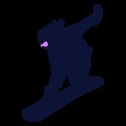 Snowboarder descendente silueta
