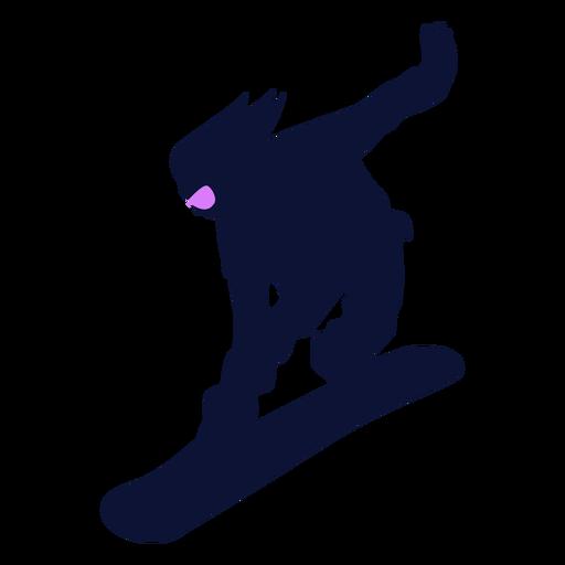Silhueta descendente do snowboarder