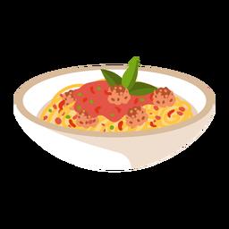Ilustración de espaguetis y albóndigas