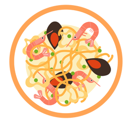 Ilustración de mariscos spaguetti