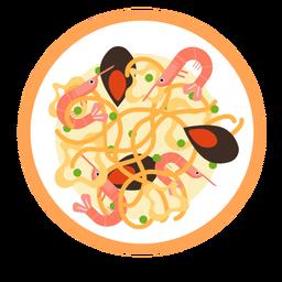 Spaguetti seafood illustration