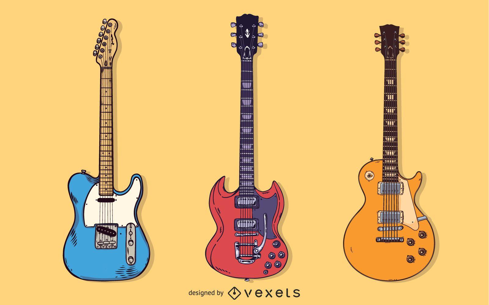 Paquete de vectores gratis de guitarra - Forma diferente