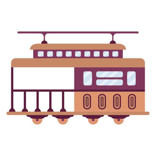 Streetcar vehicle side flat Transparent PNG