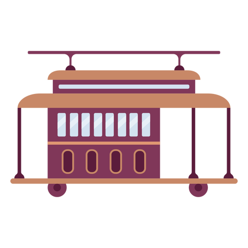 Trolley vehicle flat Transparent PNG