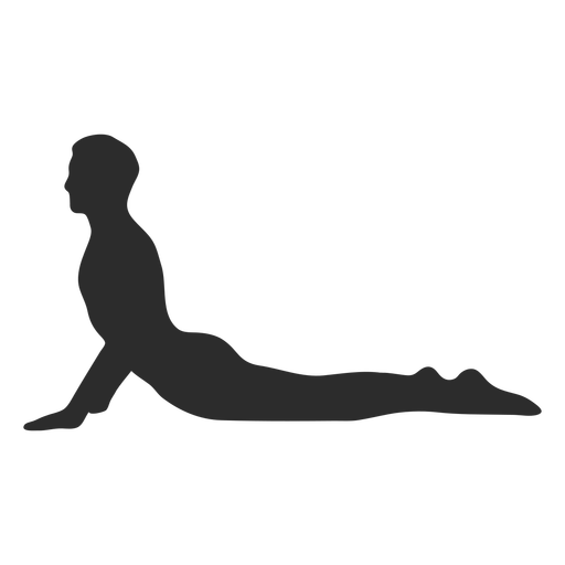 Silueta de yoga perro boca arriba