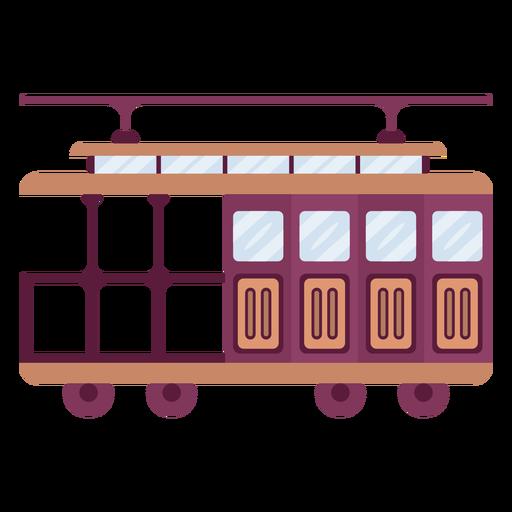 Vintage streetcar vehicle flat Transparent PNG