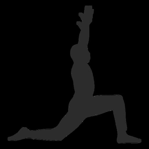 Silhueta de pose de ioga de guerreiro