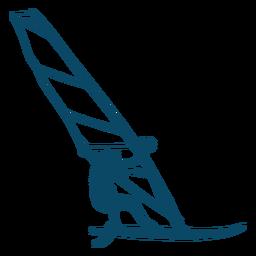 Silueta de windsurf de deporte acuático