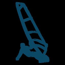 Silueta de acción de windsurf