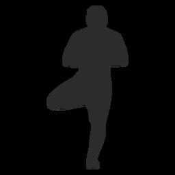 Yoga pose tree standing silhouette