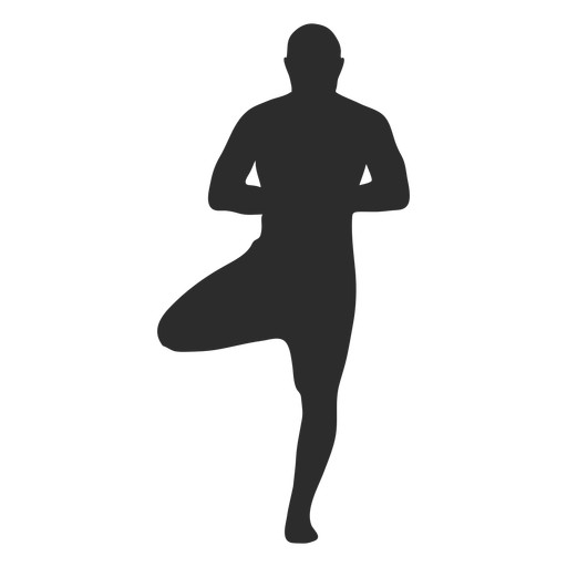 Silueta de pie de ?rbol de pose de yoga