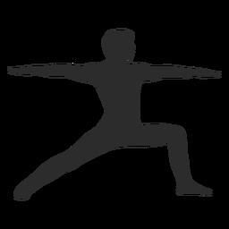 Silueta de pose de guerrero de yoga