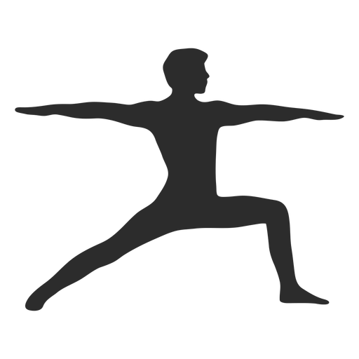 Yoga warrior pose silhouette