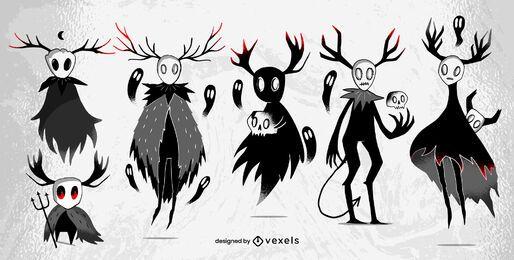 Conjunto de caracteres de criaturas de Halloween