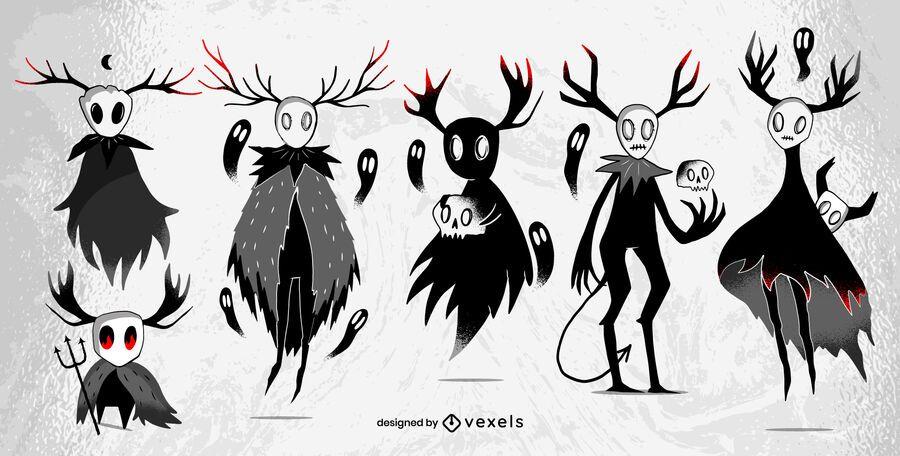 Conjunto de personagens de criaturas de Halloween