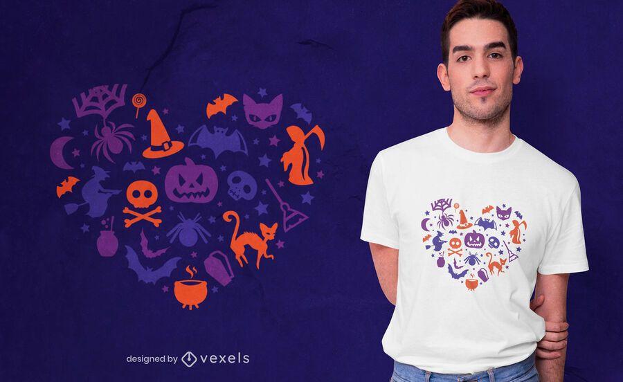 Diseño de camiseta de corazón de halloween