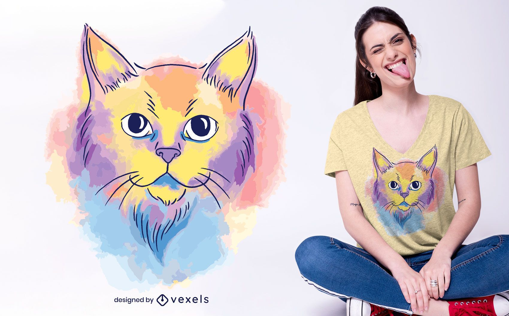 Desenho de t-shirt de gato em aquarela