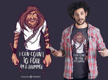 Eu sou o design de uma camiseta de baterista