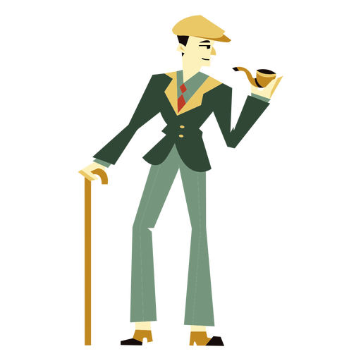 20s art deco man cane pipe character Transparent PNG