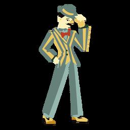Años 20 art deco hombre punta sombrero personaje