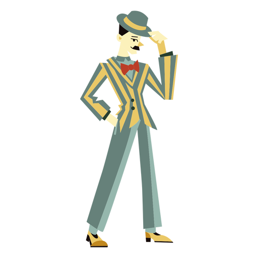 20s art deco man tip hat character