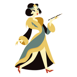 Art deco woman fur coat character