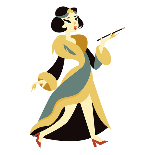 Art deco woman fur coat character