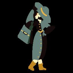 Art deco mujer sombrero bolso personaje