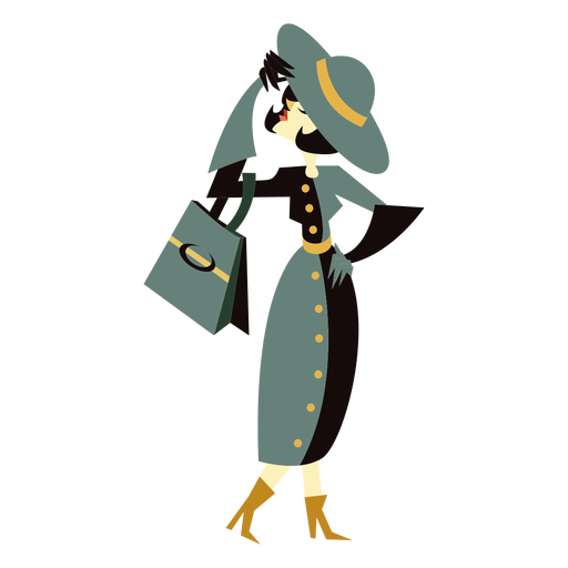 Art deco woman hat bag character