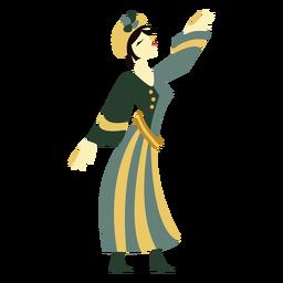 Art deco woman standing character