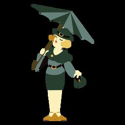 Art deco woman umbrella character