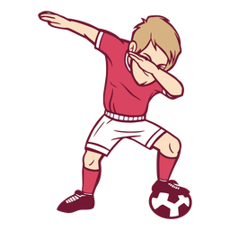 Boy soccer player dab illustration