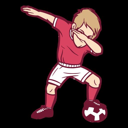 Boy soccer player dab illustration