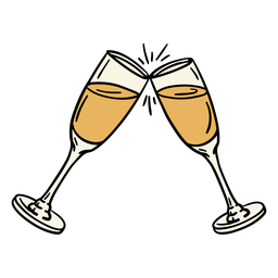Champagne glasses illustration