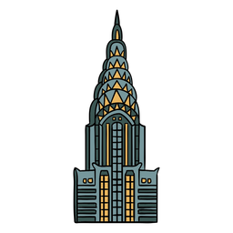 Chrysler building art deco illustration